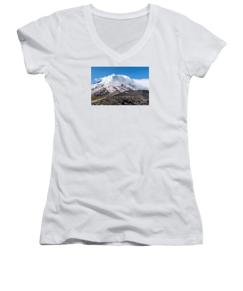 Mt Rainier In The Clouds Women's V-Neck T-Shirt