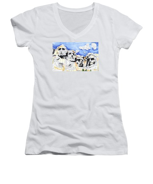 Mt. Rushmore, Usa Women's V-Neck T-Shirt (Junior Cut) by Terry Banderas