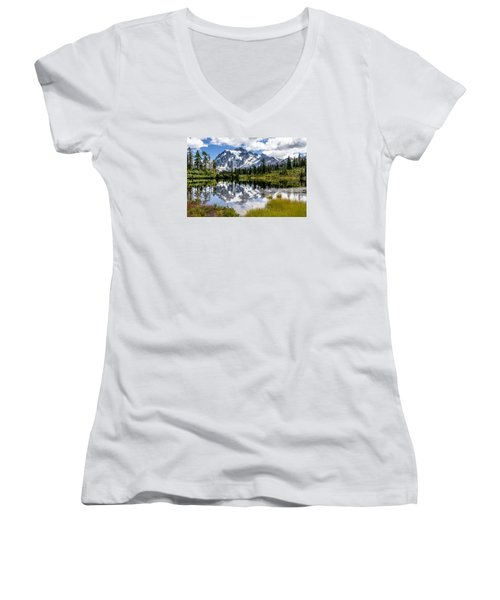 Mt Shuksan On Picture Lake 1 Women's V-Neck T-Shirt (Junior Cut) by Rob Green