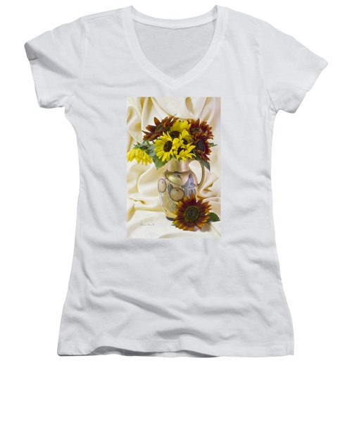 Multi Color Sunflowers Women's V-Neck T-Shirt (Junior Cut) by Sandra Foster