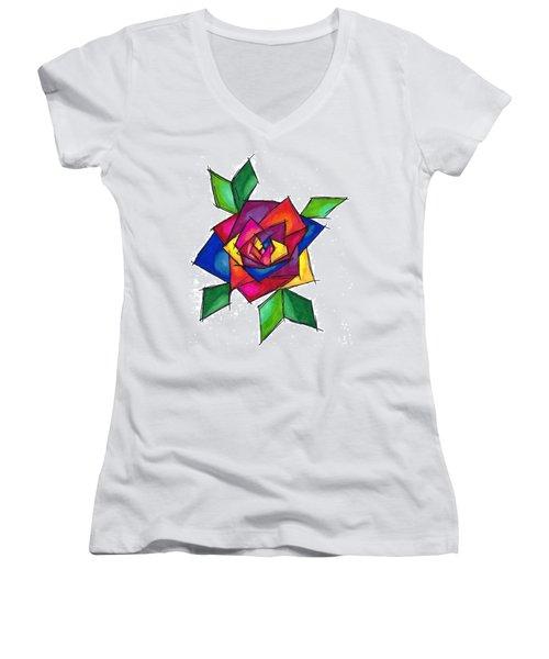 Multi Rose Women's V-Neck (Athletic Fit)
