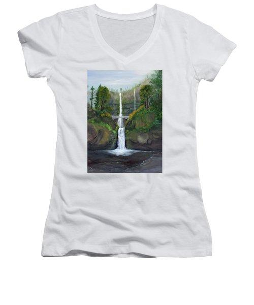 Multnomah Falls Women's V-Neck T-Shirt