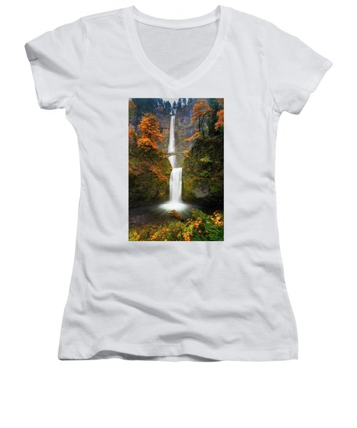 Multnomah Falls In Autumn Colors Women's V-Neck (Athletic Fit)