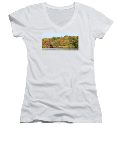 Murphy Mill Dam/bridge Women's V-Neck T-Shirt (Junior Cut) by Jerry Battle