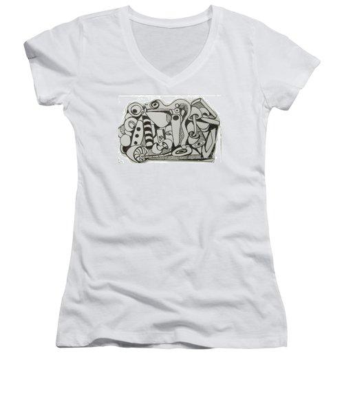 Women's V-Neck T-Shirt (Junior Cut) featuring the drawing Mushroom Powered Engine 004 - Bellingham - Lewisham by Mudiama Kammoh