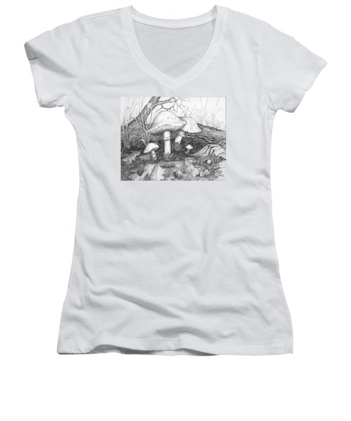 Women's V-Neck T-Shirt (Junior Cut) featuring the drawing Mushrooms -pencil Study by Doug Kreuger