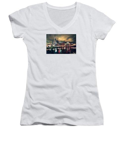 Music City Midnight Women's V-Neck T-Shirt (Junior Cut) by Matt Helm
