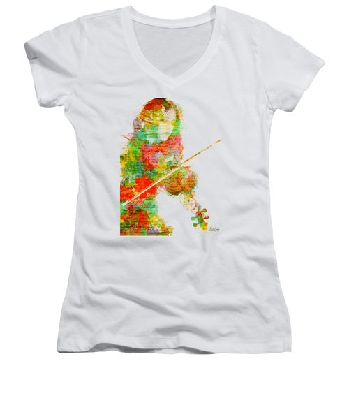 Music In My Soul Women's V-Neck T-Shirt (Junior Cut) by Nikki Smith