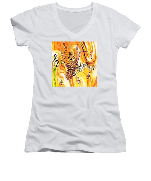 Music Was My First Love Women's V-Neck (Athletic Fit)