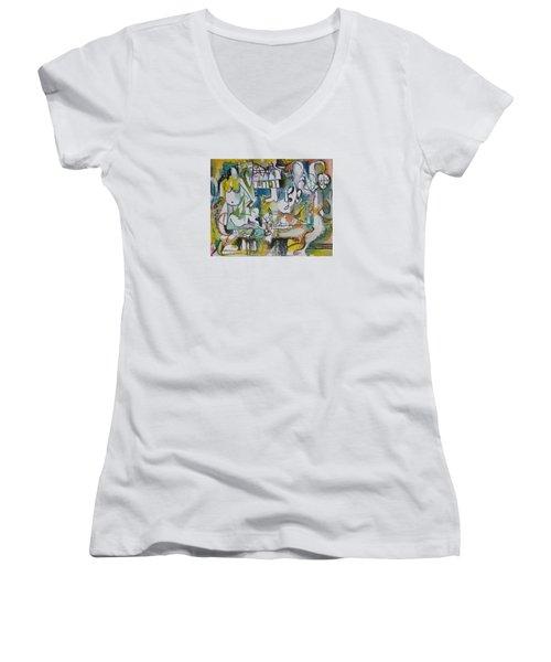 Musical Abstraction  Women's V-Neck T-Shirt (Junior Cut) by Rita Fetisov