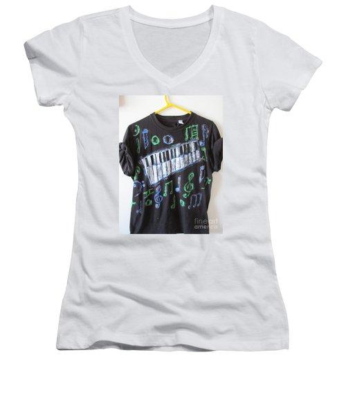 Women's V-Neck T-Shirt (Junior Cut) featuring the painting Musician Tee Shirt - Sierra Leone by Mudiama Kammoh