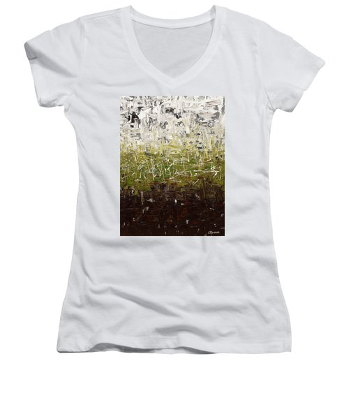 Women's V-Neck T-Shirt (Junior Cut) featuring the painting Musing by Carmen Guedez