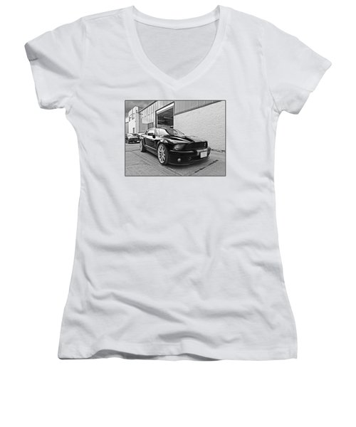 Mustang Alley In Black And White Women's V-Neck T-Shirt (Junior Cut) by Gill Billington