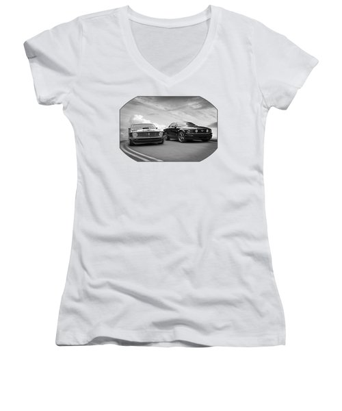 Mustang Buddies In Black And White Women's V-Neck T-Shirt (Junior Cut) by Gill Billington