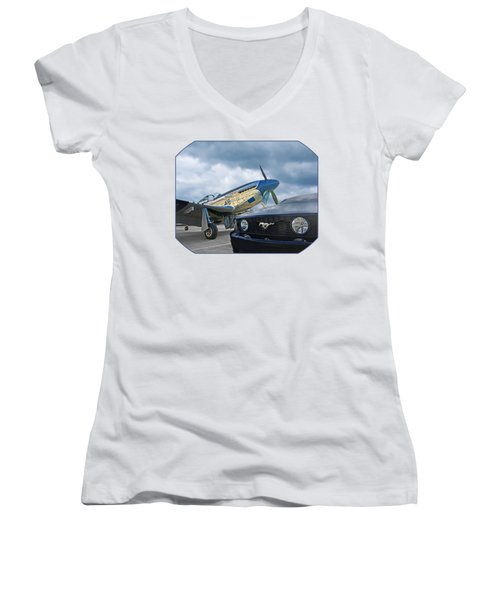 Mustang Gt With P51 Women's V-Neck