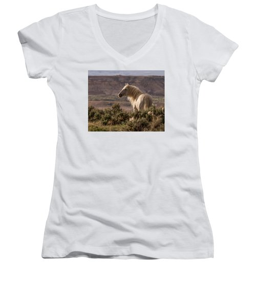 Mustang At Sunset Women's V-Neck (Athletic Fit)