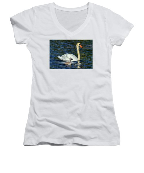 Mute Swan, Cygnus Olor, Mother And Baby Women's V-Neck T-Shirt