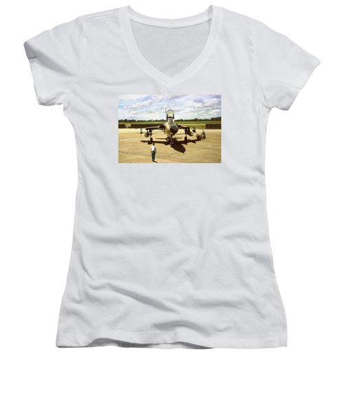 Women's V-Neck T-Shirt (Junior Cut) featuring the digital art My Baby F-105 by Peter Chilelli