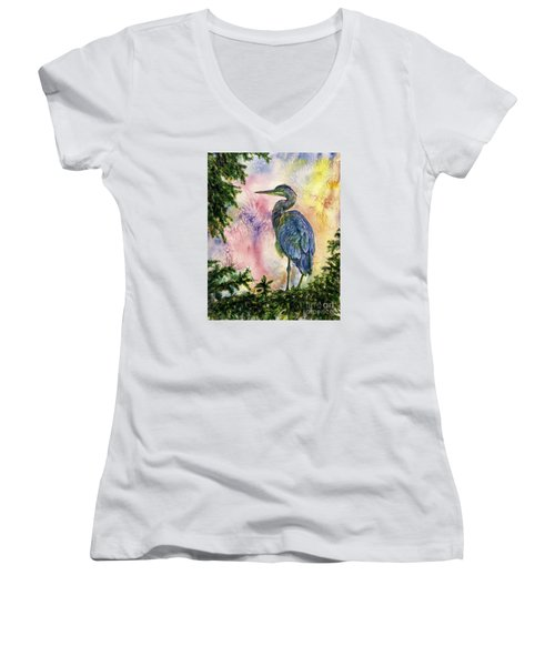 My Blue Heron Women's V-Neck (Athletic Fit)
