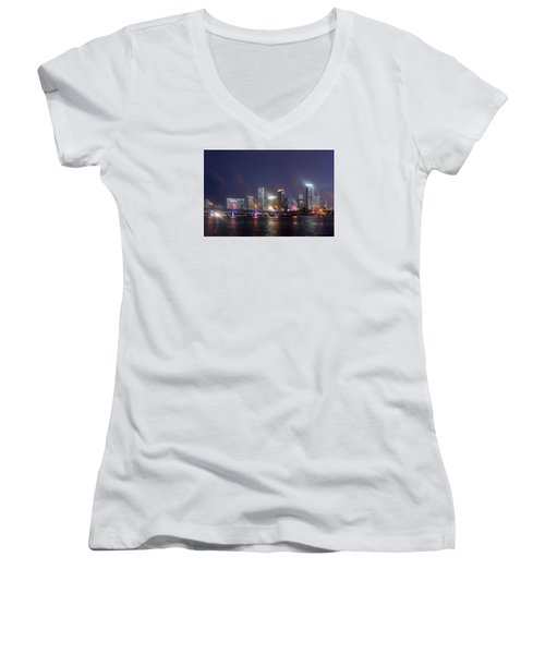 My City Skyline Women's V-Neck (Athletic Fit)