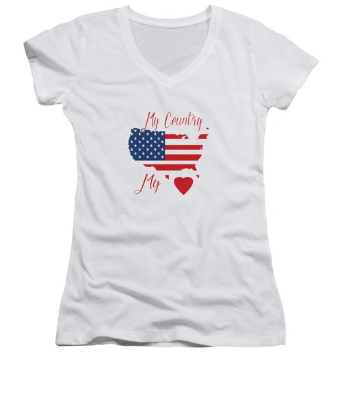 My Country My Heart Women's V-Neck