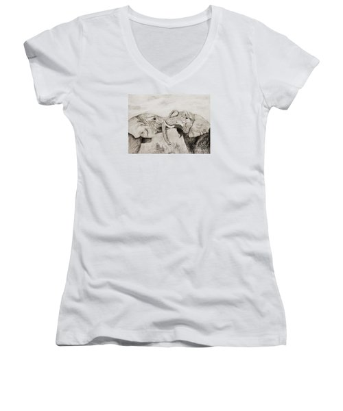 Women's V-Neck T-Shirt (Junior Cut) featuring the drawing My Dad Is Bigger Than Your Dad by John Stuart Webbstock