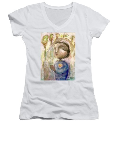 Women's V-Neck T-Shirt (Junior Cut) featuring the mixed media My Faith by Eleatta Diver