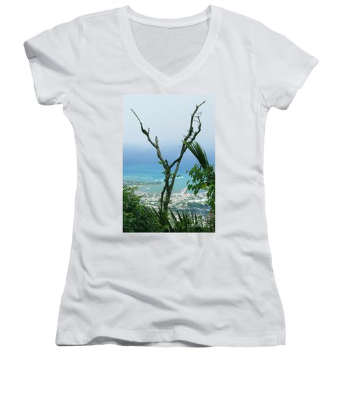 My Favorite Wishbone Between A Mountain And The Beach Women's V-Neck T-Shirt (Junior Cut) by Heather Kirk