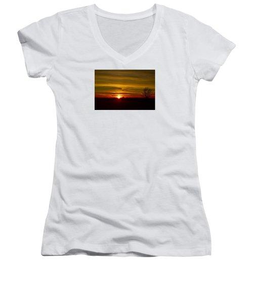 My First 2016 Sunset Photo Women's V-Neck T-Shirt (Junior Cut) by Dacia Doroff