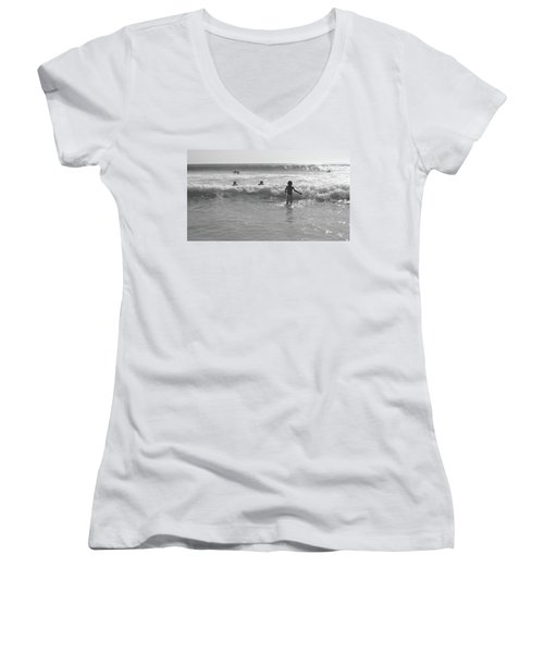 My Fist Time In The Sea Women's V-Neck T-Shirt (Junior Cut) by Beto Machado