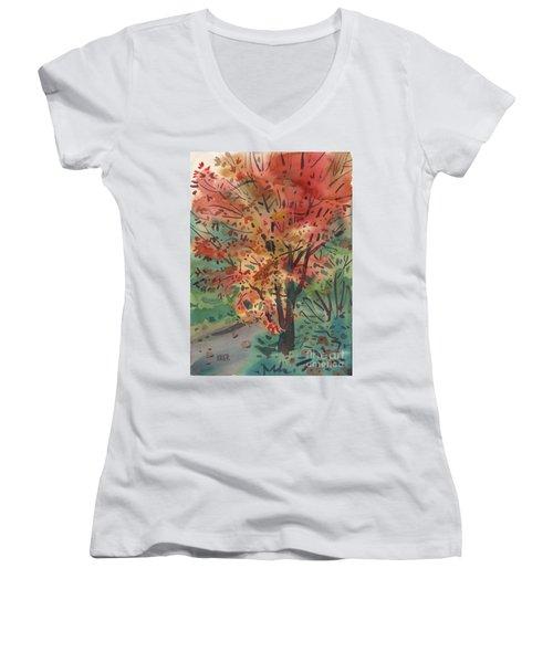 My Maple Tree Women's V-Neck T-Shirt (Junior Cut) by Donald Maier
