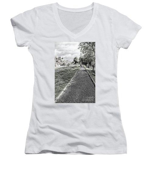 Women's V-Neck T-Shirt (Junior Cut) featuring the photograph My Street II by Al Bourassa