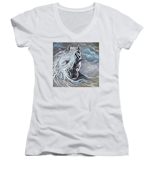 Women's V-Neck T-Shirt (Junior Cut) featuring the painting My White Dream Horse by AmaS Art