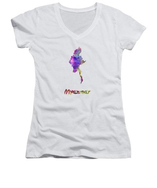 Myanmar In Watercolor Women's V-Neck T-Shirt (Junior Cut) by Pablo Romero