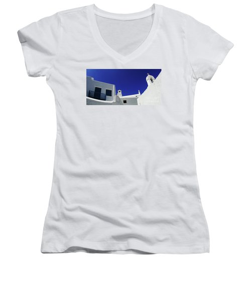Mykonos Greece Clean Line Architecture Women's V-Neck T-Shirt (Junior Cut) by Bob Christopher