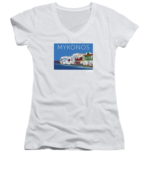 Mykonos Little Venice - Blue Women's V-Neck (Athletic Fit)