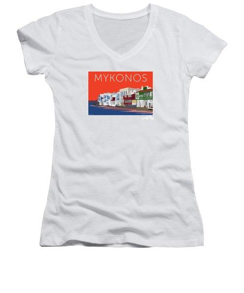 Mykonos Little Venice - Orange Women's V-Neck