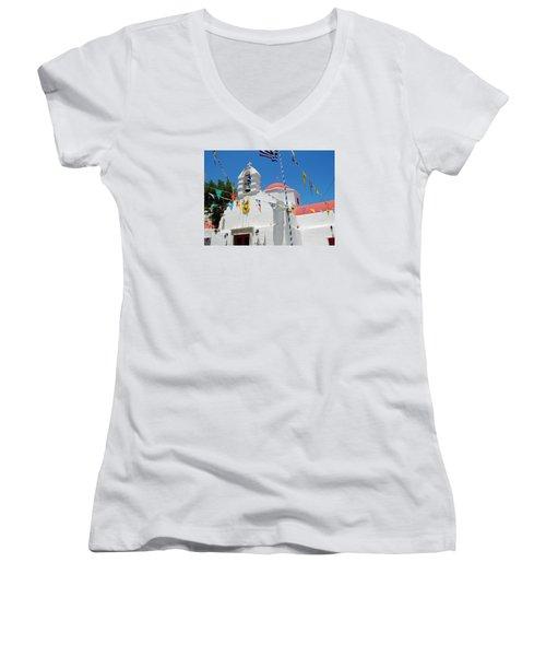 Women's V-Neck T-Shirt (Junior Cut) featuring the photograph Mykonos Red Chapel by Robert Moss