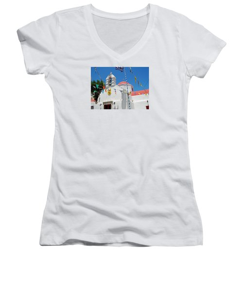 Mykonos Red Chapel Women's V-Neck T-Shirt