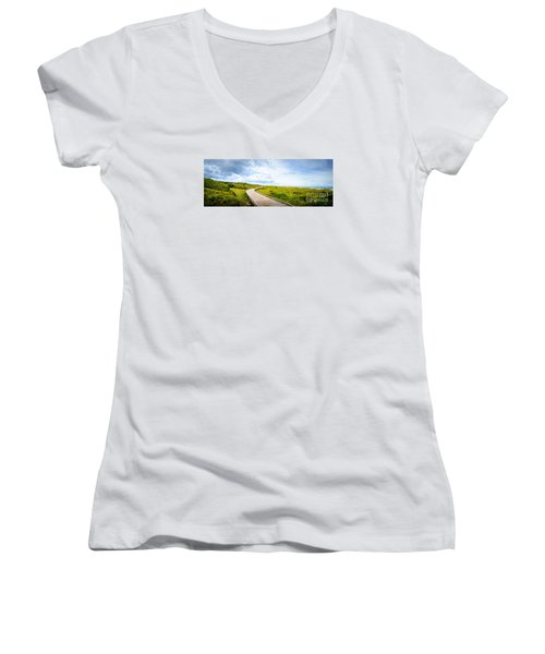 Myrtle Beach State Park Boardwalk Women's V-Neck T-Shirt (Junior Cut) by David Smith