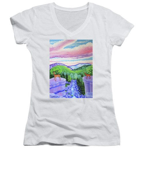 Mystic Mountain Women's V-Neck T-Shirt (Junior Cut) by Tracy Dennison
