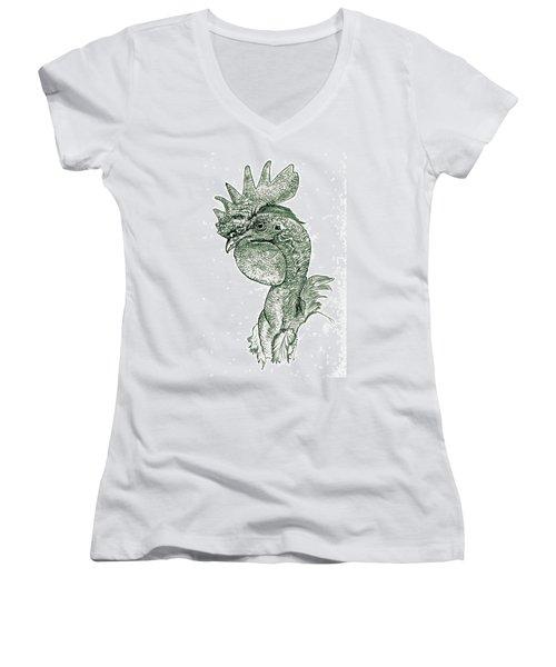 Naked Neck Rooster Women's V-Neck T-Shirt