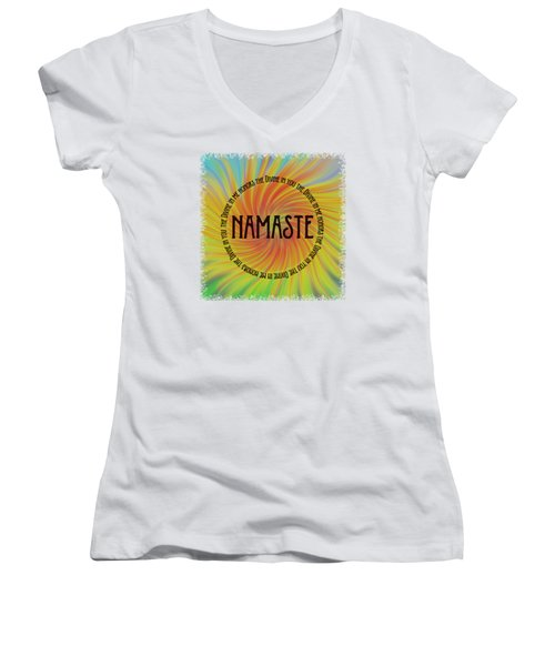 Namaste Divine And Honor Swirl Women's V-Neck T-Shirt (Junior Cut) by Terry DeLuco