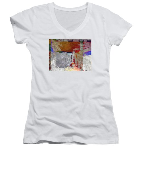 Women's V-Neck T-Shirt (Junior Cut) featuring the mixed media Name This Piece by Tony Rubino