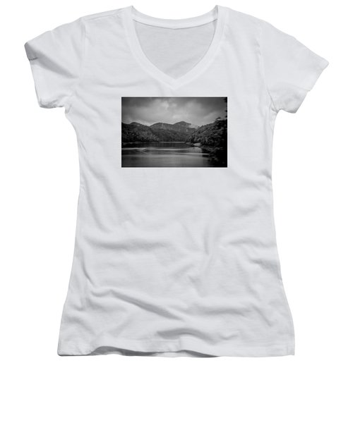 Nantahala River Great Smoky Mountains In Black And White Women's V-Neck