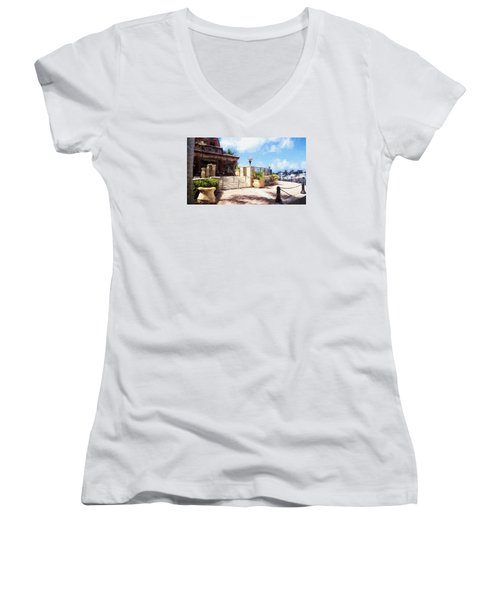 Naples Scenic Places Women's V-Neck T-Shirt (Junior Cut) by Rena Trepanier