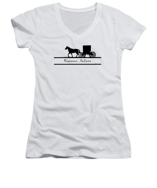 Nappanee Horse And Buggy Women's V-Neck T-Shirt