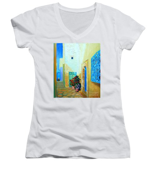 Narrow Street In Hammamet Women's V-Neck