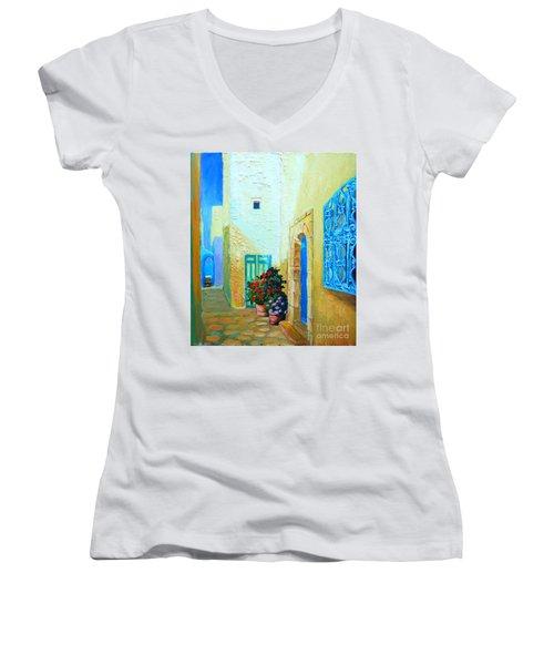 Narrow Street In Hammamet Women's V-Neck T-Shirt (Junior Cut) by Ana Maria Edulescu