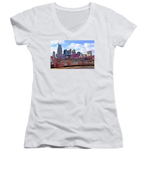 Nashville On The Riverfront Women's V-Neck T-Shirt (Junior Cut) by Frozen in Time Fine Art Photography